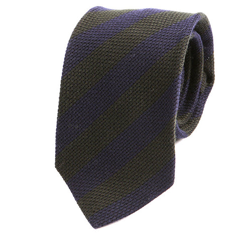 Green & Navy Wool Striped Tie - Handmade Silk Wool And Knitted Ties by Tie Doctor