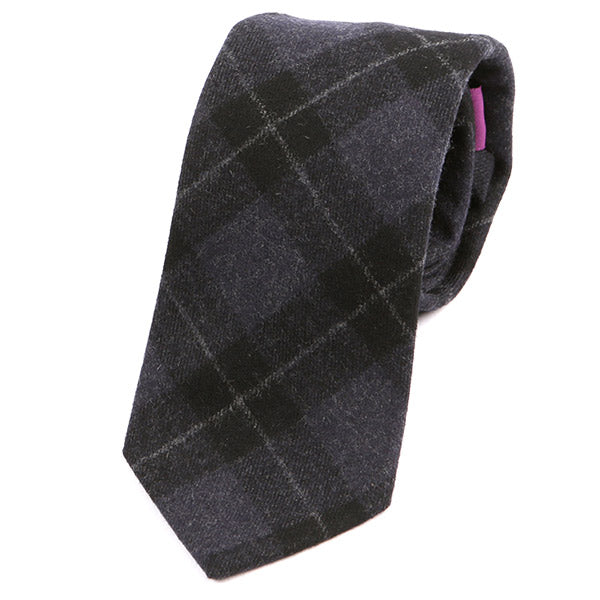 LIGHT PURPLE CHECK WOOL TIE - Handmade Silk Wool And Knitted Ties by Tie Doctor