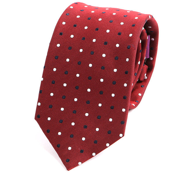 Red & Blue Polka Dot Silk Tie - Handmade Limited Edition Ties by Tie Doctor
