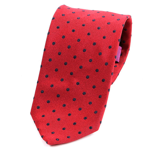 RED & BLUE MINI DOTS SILK TIE - Handmade Limited Edition Ties by Tie Doctor