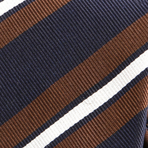 NAVY BLUE & BROWN SLIM SILK TIE - Handmade Limited Edition Ties by Tie Doctor