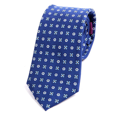 BLUE MACCLESFIELD FLORAL SILK TIE - Handmade Limited Edition Ties by Tie Doctor