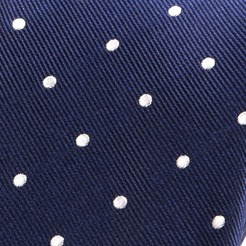 NAVY BLUE SPACED DOTS SILK TIE - Handmade Silk Wool And Knitted Ties by Tie Doctor