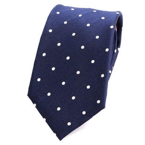 NAVY BLUE SPACED DOTS SILK TIE - Handmade Limited Edition Ties by Tie Doctor