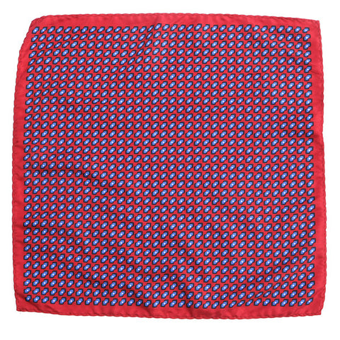 Red & Navy Optic Pocket Square - Handmade Limited Edition Ties by Tie Doctor
