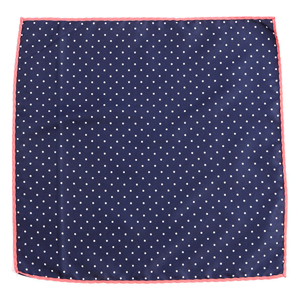 Navy Polka Edge Pocket Square - Handmade Limited Edition Ties by Tie Doctor