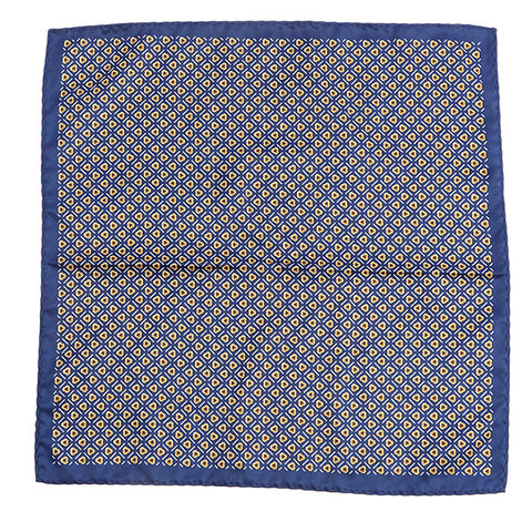 Navy & Brown Floral Pocket Square - Handmade Silk Wool And Knitted Ties by Tie Doctor