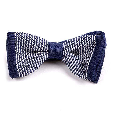 Navy Striped Tip Knitted Bow Tie - Handmade Limited Edition Ties by Tie Doctor