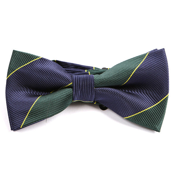 Navy & Green Striped Bow Tie - Handmade Silk Wool And Knitted Ties by Tie Doctor