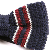 Navy & Red Duo Knitted Bow Tie - Handmade Silk Wool And Knitted Ties by Tie Doctor