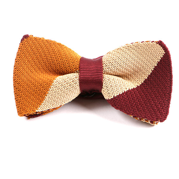 Red & Orange Check Knitted Bow Tie - Handmade Limited Edition Ties by Tie Doctor