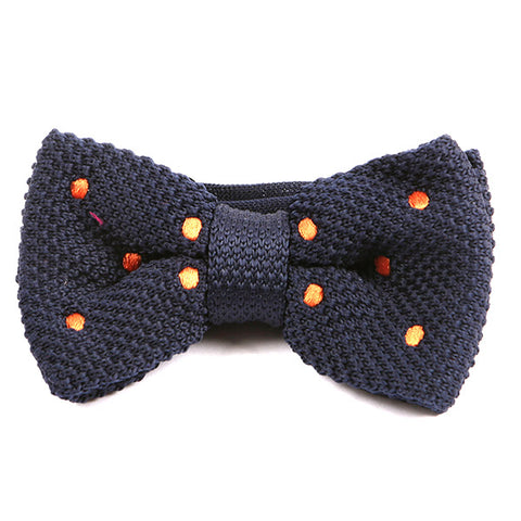 Navy & Orange Polka Dot Knitted Bow Tie - Handmade Silk Wool And Knitted Ties by Tie Doctor