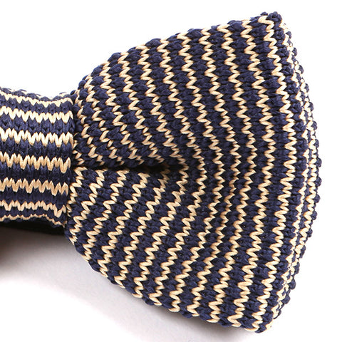 Navy & Cream Knitted Bow Tie - Handmade Silk Wool And Knitted Ties by Tie Doctor