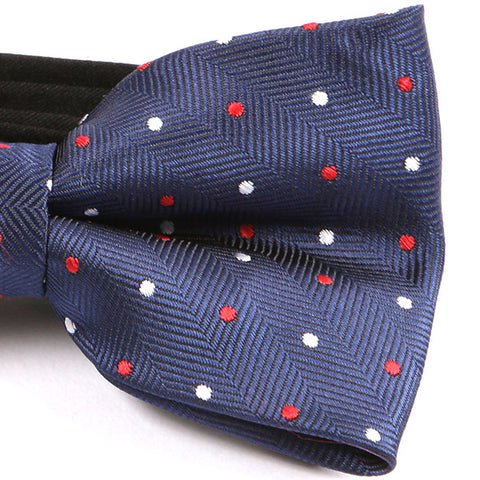 Navy & Red Polka Dot Bow Tie - Handmade Silk Wool And Knitted Ties by Tie Doctor