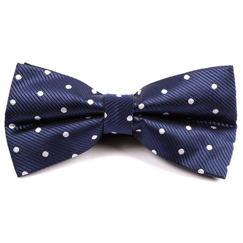 Navy & White Spaced Dot Bow Tie - Handmade Silk Wool And Knitted Ties by Tie Doctor