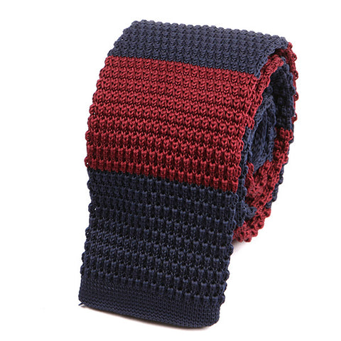 BURGUNDY & NAVY BOLD KNITTED TIE - Handmade Limited Edition Ties by Tie Doctor
