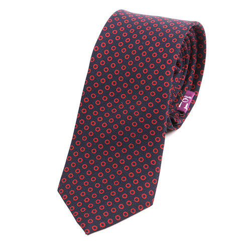 Dark Navy & Red Mini Circles Slim Macclesfield Silk Tie - Handmade Limited Edition Ties by Tie Doctor