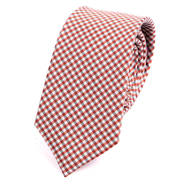 Red & White Check Slim Silk Tie - Handmade Limited Edition Ties by Tie Doctor