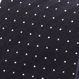 Navy Polka Dot Woven Silk Tie - Handmade Limited Edition Ties by Tie Doctor