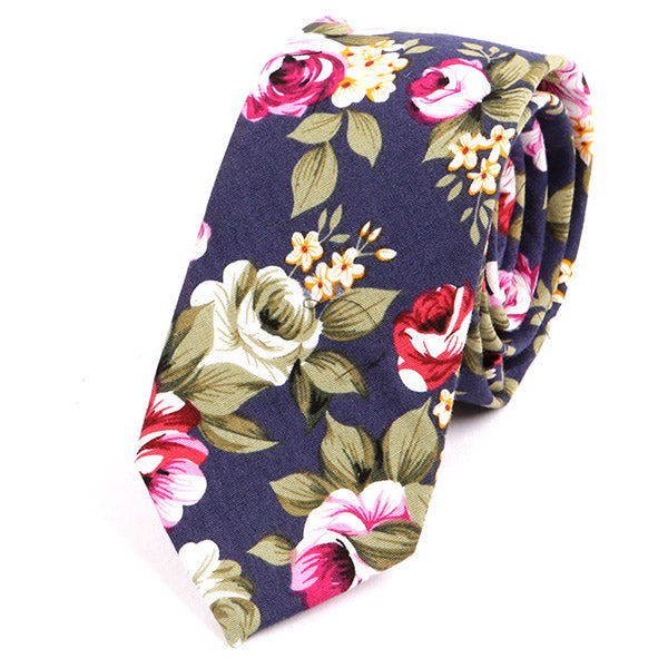 Navy Floral Cotton Slim Tie - Handmade Silk Wool And Knitted Ties by Tie Doctor