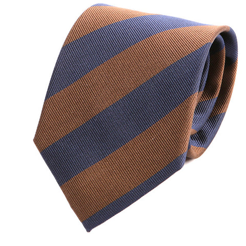 Navy & Brown Thick Striped Silk Tie - Handmade Silk Wool And Knitted Ties by Tie Doctor