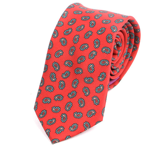 Red Vivid Paisley Silk Slim Tie
