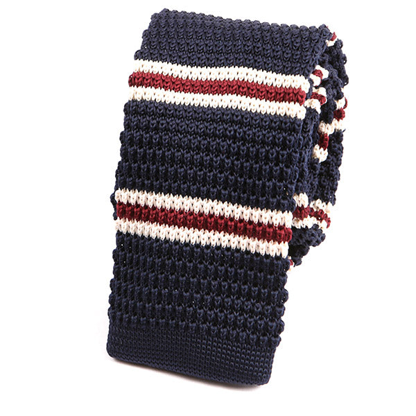 Best Seller Navy Striped Knitted Tie - Handmade Silk Wool And Knitted Ties by Tie Doctor