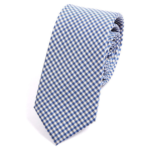 Light Blue Check Silk Tie - Handmade Silk Wool And Knitted Ties by Tie Doctor