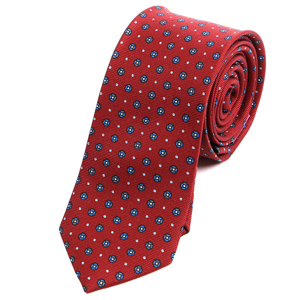 Red & Blue Mini Circles Macclesfield Slim Silk Tie - Handmade Limited Edition Ties by Tie Doctor