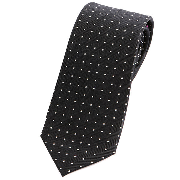 Black & White Polka Dot Silk Tie - Handmade Silk Wool And Knitted Ties by Tie Doctor