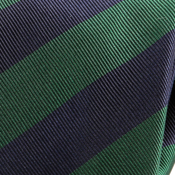 NAVY & GREEN THICK STRIPED SILK TIE - Handmade Silk Wool And Knitted Ties by Tie Doctor