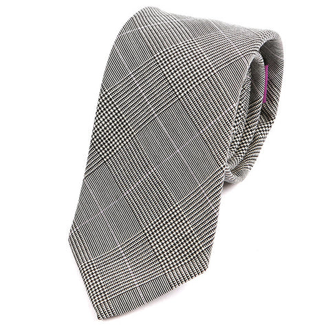Light Grey Check Silk Wool Tie - Handmade Silk Wool And Knitted Ties by Tie Doctor