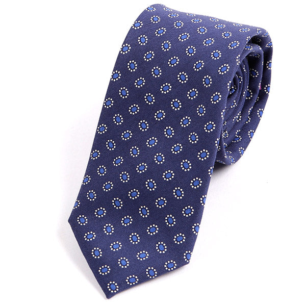 BLUE & WHITE SLIM POLKA DOT COTTON TIE - Handmade Silk Wool And Knitted Ties by Tie Doctor