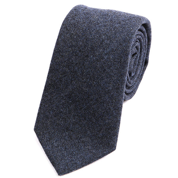 Blue Denim Brushed Wool Tie - Handmade Silk Wool And Knitted Ties by Tie Doctor