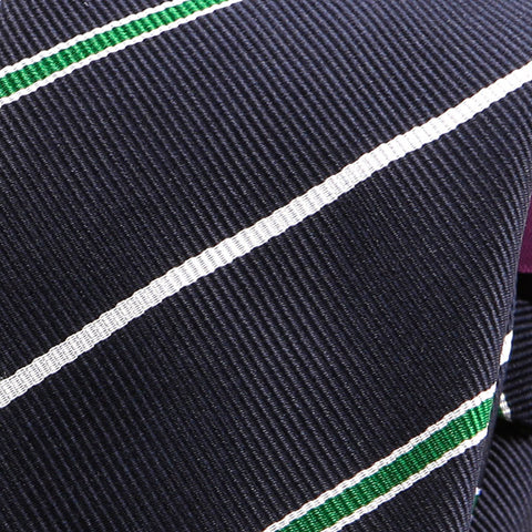 Navy Green Lined Slim Tie - Handmade Limited Edition Ties by Tie Doctor