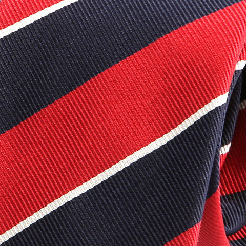 Red & Navy Striped Slim Silk Tie - Handmade Limited Edition Ties by Tie Doctor