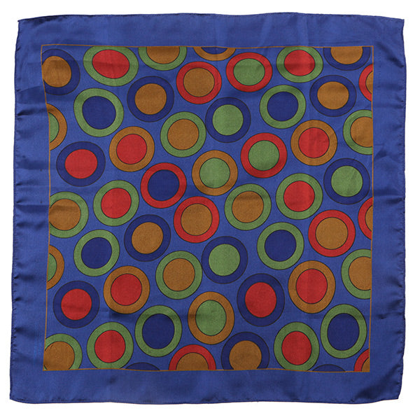 Blue Circular Silk Pocket Square Extra Large