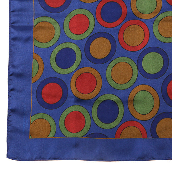 Blue Circular Extra Large Silk Pocket Square