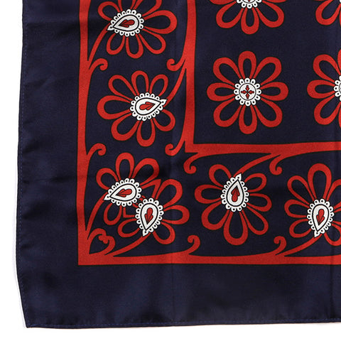 Navy Blue Floral Extra Large Silk Pocket Square