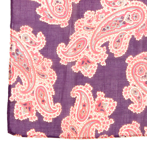 Limited Edition Purple Wool Paisley Pocket Square