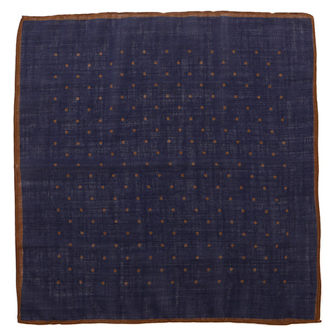 Navy & Brown Polka Dot Wool Pocket Square