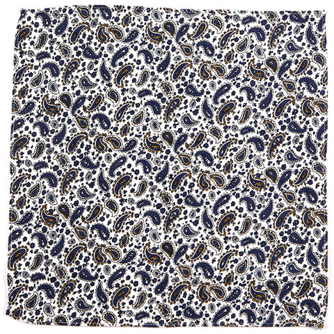 Navy And White Paisley Pocket Square