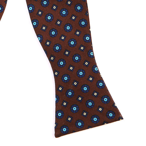 BROWN MACCLESFIELD SILK SELF TIE BOW TIE