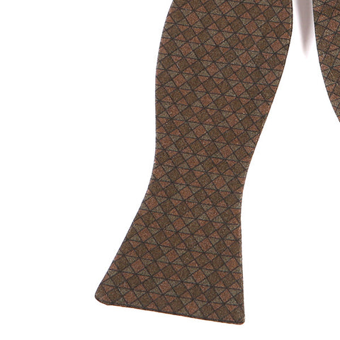 BROWN WOOL SELF TIE BOW TIE