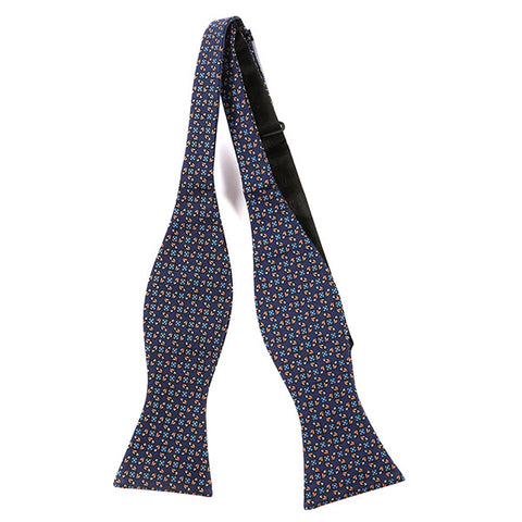 NAVY KAI MACCLESFIELD SILK SELF TIE BOW TIE