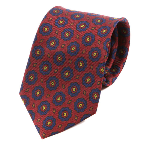 Burgundy Red Macclesfield Floral Silk Tie