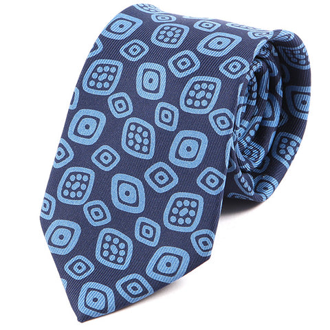 Navy Blue Tribal Motif Macclesfield Silk Tie