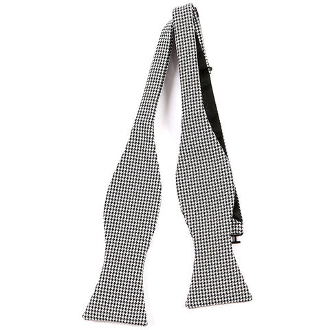Black & White Wool Self Tie Bow Tie