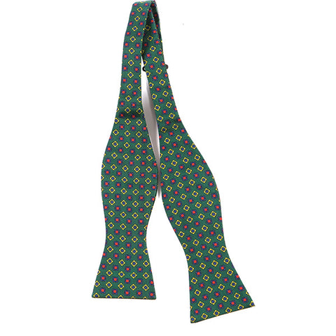 GREEN & RED MACCLESFIELD SILK SELF TIE BOW TIE