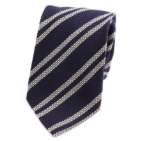 Navy and White Striped Wool Ties - Handmade Silk Wool And Knitted Ties by Tie Doctor